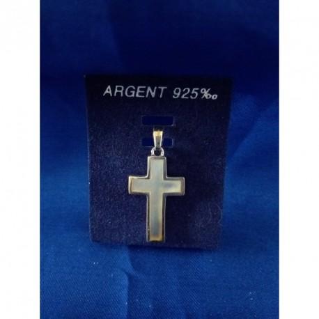 Croix argent et nacre
