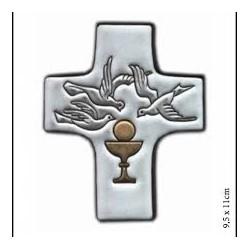 Croix céramique colombe blanche/calice